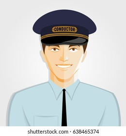Train Conductor, flat design style, isolated on white background