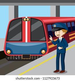 Train conductor and train illustration