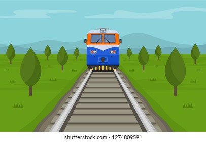Train crossing the summer steppe. Front view. Flat vector illustration.