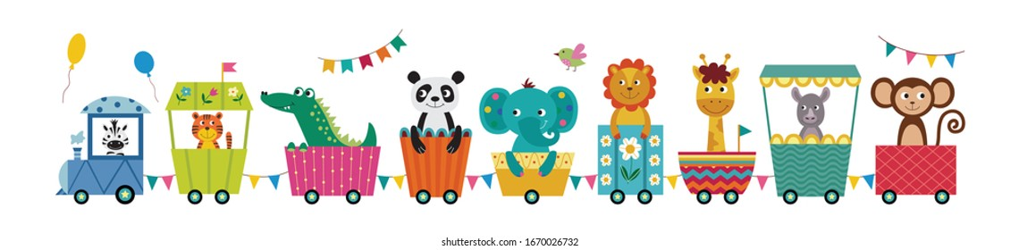 Train with cute animals cartoon characters flat vector illustration isolated on white background. Children railway attraction for kids clothing prints and cards.