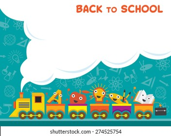 Train with Education Characters Back to School, Kindergarten, Preschool, Kids, Learning and Study Concept