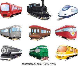 Train Engine collection Cartoon Illustration set of icons