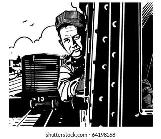 Train Engineer - Retro Clipart Illustration