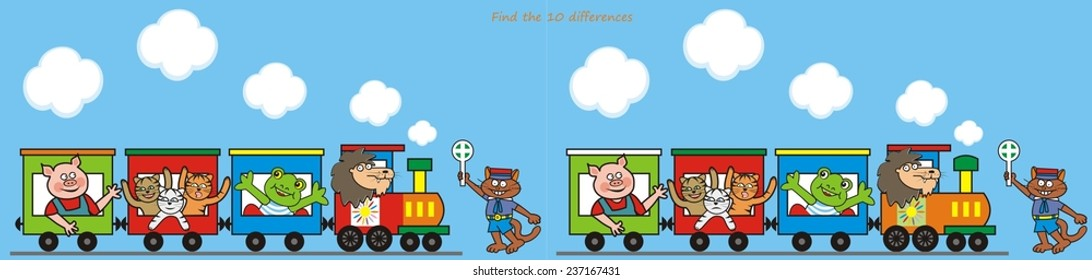 train, find ten differences