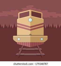 Train with a forest in the background. Flat illustration style, front view.