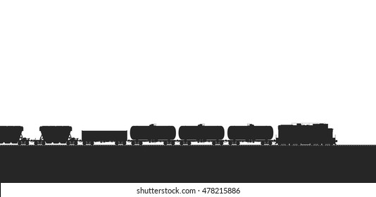 Train with freight wagons isolated on white. Detail BW vector illustration.