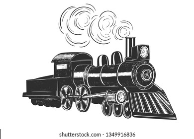 Train with grunge effect isolated on white. Vintage style. Vector illustration.