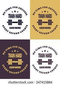 Train hard round emblem vector illustration, eps10, easy to edit