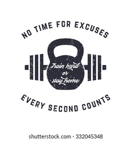 Train hard, vintage t-shirt design, print, kettlebell and barbell, with grunge texture, vector illustration