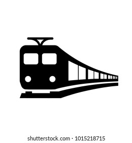 Train icon. Electric train, black isolated icon, vector illustration.