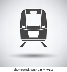 Train icon front view on gray background, round shadow. Vector illustration.