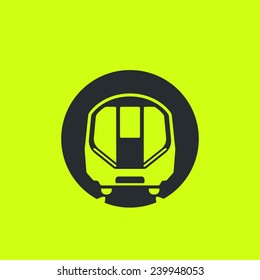 Train icon: modern metro, London tube, underground, subway car flat silhouette. Front view, future concept style. For maps, schemes, applications and infographics.