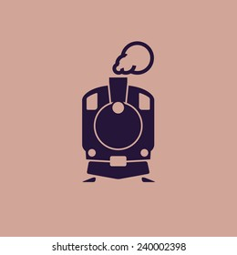 Train icon: old classic steam engine locomotive pictogram on flat background. For maps, schemes, applications and infographics.