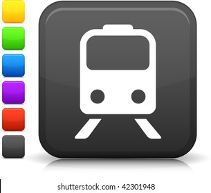 Train icon on square internet button Six color options included.