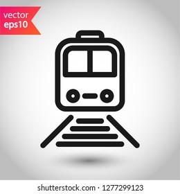 Train icon. Subway line icon. Metro symbol. Locomotive vector sign. Train outline vector icon. EPS 10. Public transport icon