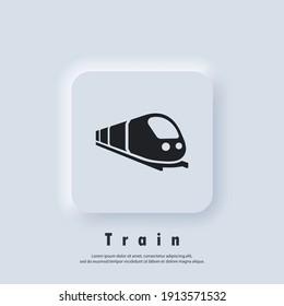 Train icon. Trip way. Journey concept. Vector. UI icon.  Neumorphic UI UX white user interface web button. Neumorphism