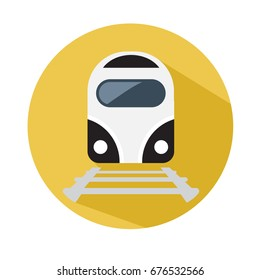 Train icon. Train vector on yellow background