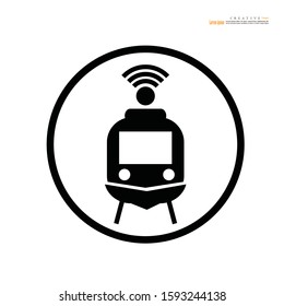Train icon with wifi signal symbol on white background. Transport icons. transportation. vector illustration .