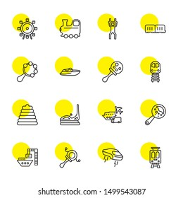 train icons. Editable 16 train icons. Included icons such as Tram, Flying car, Rattle, Port, Transportation, Dodgem, Toy, Train, Boat, Wagon, Trapeze. trendy icons for web.