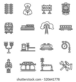 Train icons set. Railway, thin line design. Railways, linear symbols collection. Cargo train, isolated vector illustration. The vehicle train