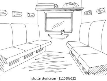 Train interior graphic black white sketch illustration vector