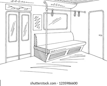 Train interior graphic metro subway black white sketch illustration vector