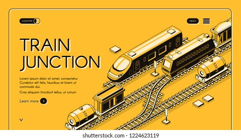 Train junction, transport node isometric vector web banner with passenger and freight trains with wagons on rail routes converge, line art illustration. Railroad or transport company landing page