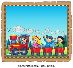 Train with kids theme parchment 1 - eps10 vector illustration.
