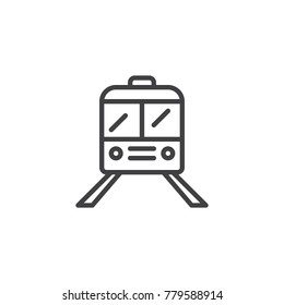 Train line icon, outline vector sign, linear style pictogram isolated on white. Railway symbol, logo illustration. Editable stroke