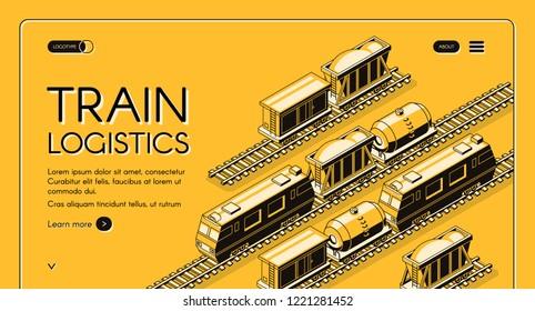 Train logistics service isometric vector web banner. Locomotive pulling freight train with goods wagon, tank car on rails, line art illustration. Industrial transport hub, railway company landing page