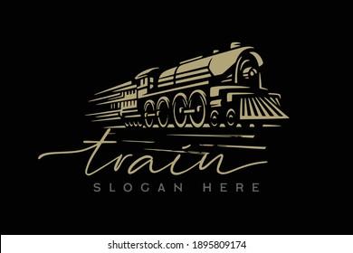 Train logo design template premium