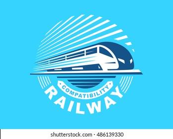 Train logo illustration on blue background, emblem