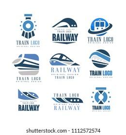 Train logo original design set, modern railway railroad transport emblem badge vector Illustrations