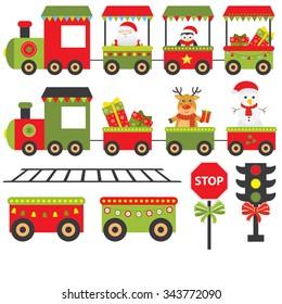 train merry christmas greeting