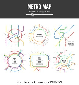 Train Metro Map Vector Set. City Underground Transportation Metro Scheme Concept. Subway Scheme. Colorful Background With Stations