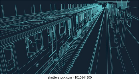 train in a metro station illustrated in wire frame style