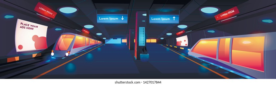 Train in metro station interior at night time, empty subway platform with glowing lamps, map and ads banners, underground design. metropolitan, railroad, public railway. Cartoon vector illustration