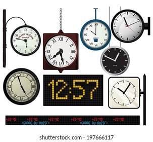 Train, metro station,  vector watches collection over white background