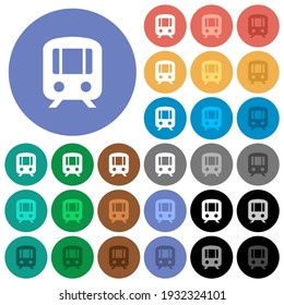 Train multi colored flat icons on round backgrounds. Included white, light and dark icon variations for hover and active status effects, and bonus shades.