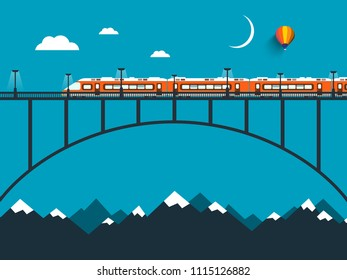 Train on Bridge over the Mountains Vector Night Landscape Flat Design Scene