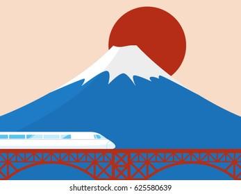 train on fuji moutain in japan vector illustration.