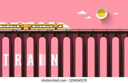 Train on High Bridge with Sunset Sky