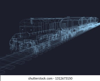 Train on rails with tanks. Train wireframe of blue lines on a dark background. Polygonal train with fuel tanks in isometric. 3D. Vector illustration.