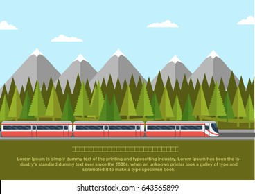 Train on railway with forest of conifers and mountains. Flat style vector illustration