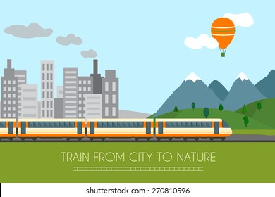Train on railway with forest and mountains background. Flat style vector illustration.