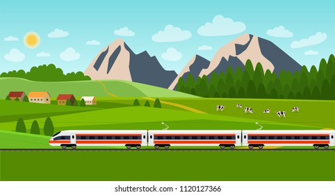 Train on railway. Summer landscape with village and herd of cows on the field. Vector flat style illustration.