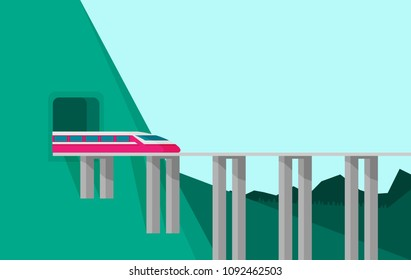 Train on railway. Vector travel concept background.