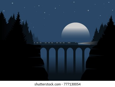 train passing ravine on bridge at night, vector illustration landscape