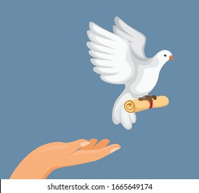 train pigeon carrier to deliver a message, hand release pigeon bird with roll paper message in cartoon flat illustration vector