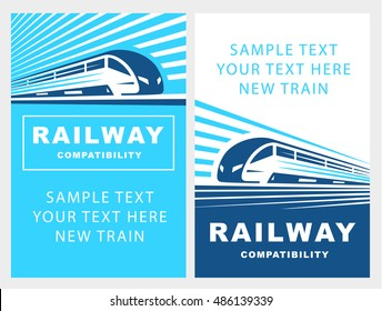 Train poster illustration on light background, emblem